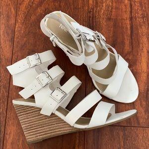 Nine West White Sandal Wedges